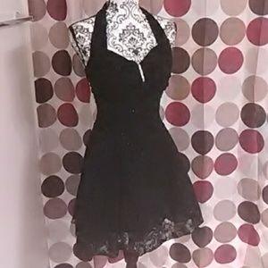 Fancy glittery black halter dress